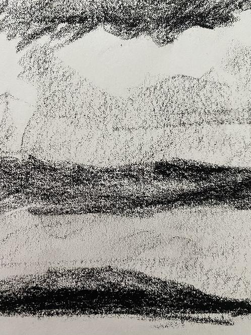 Charcoal landscape sketch
