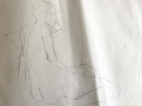 Sketch of Seated Female Figure