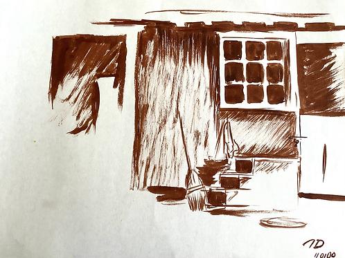 Sepia Ink Barn Detail