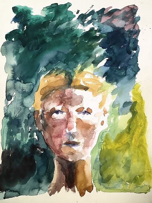 Abstract watercolor self portrait