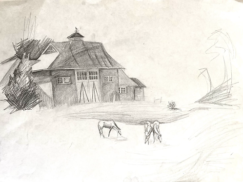 Drawing of barn and horses
