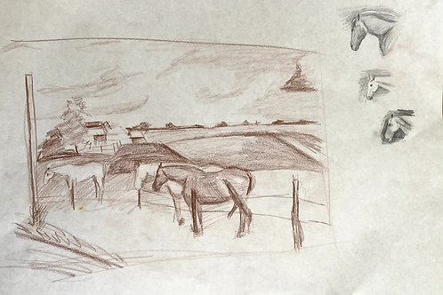 Farm Drawing with Horse Sketches
