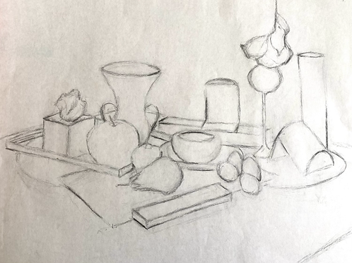 Simple Charcoal Still-life Study