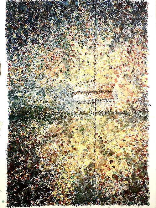 Dotted watercolor boat abstract