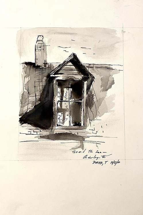 Ink drawing study of house