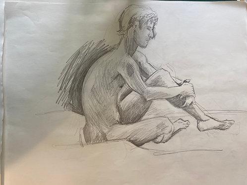 Sketch of Nude Male Figure
