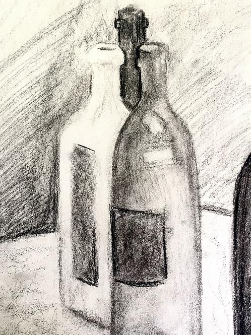 Charcoal still life of bottles