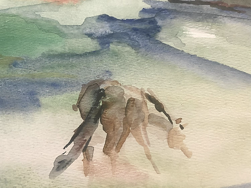 Watercolor landscape with horses