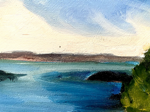 Oil painting of waterscape