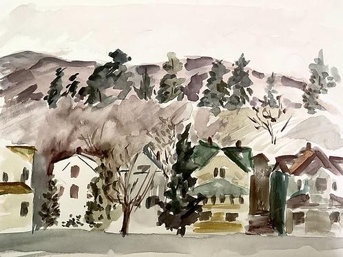 Watercolor townscape