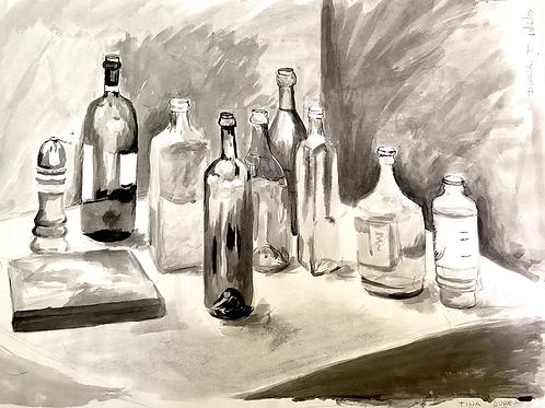India ink still life of bottles