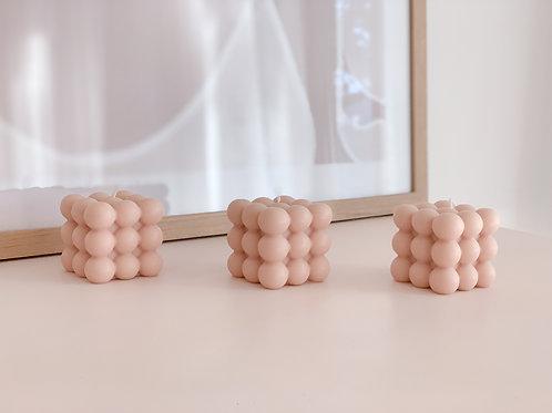 blush pink bubble candle