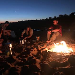 Campfire at dusk.