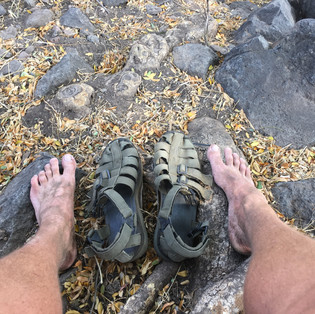 Tired and dusty feet.