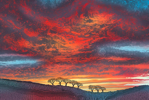 Rebecca Vincent original painting picture fire sunset landscape silhouette trees Northumberland Artist