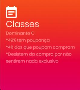 print com as classes sociais predominantes na compra de carros em Piracicaba. Sendo a classe C dominante, que por sua vez tem 49% de poupança.