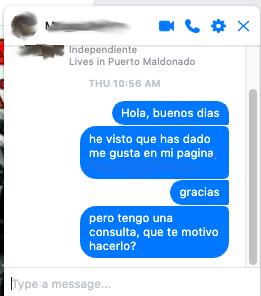 imagem com print de conversa no facebook com uma pessoa que curtiu a página mesmo sem ela ter algum conteúdo