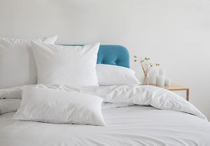 White pillows, duvet and duvet case on a