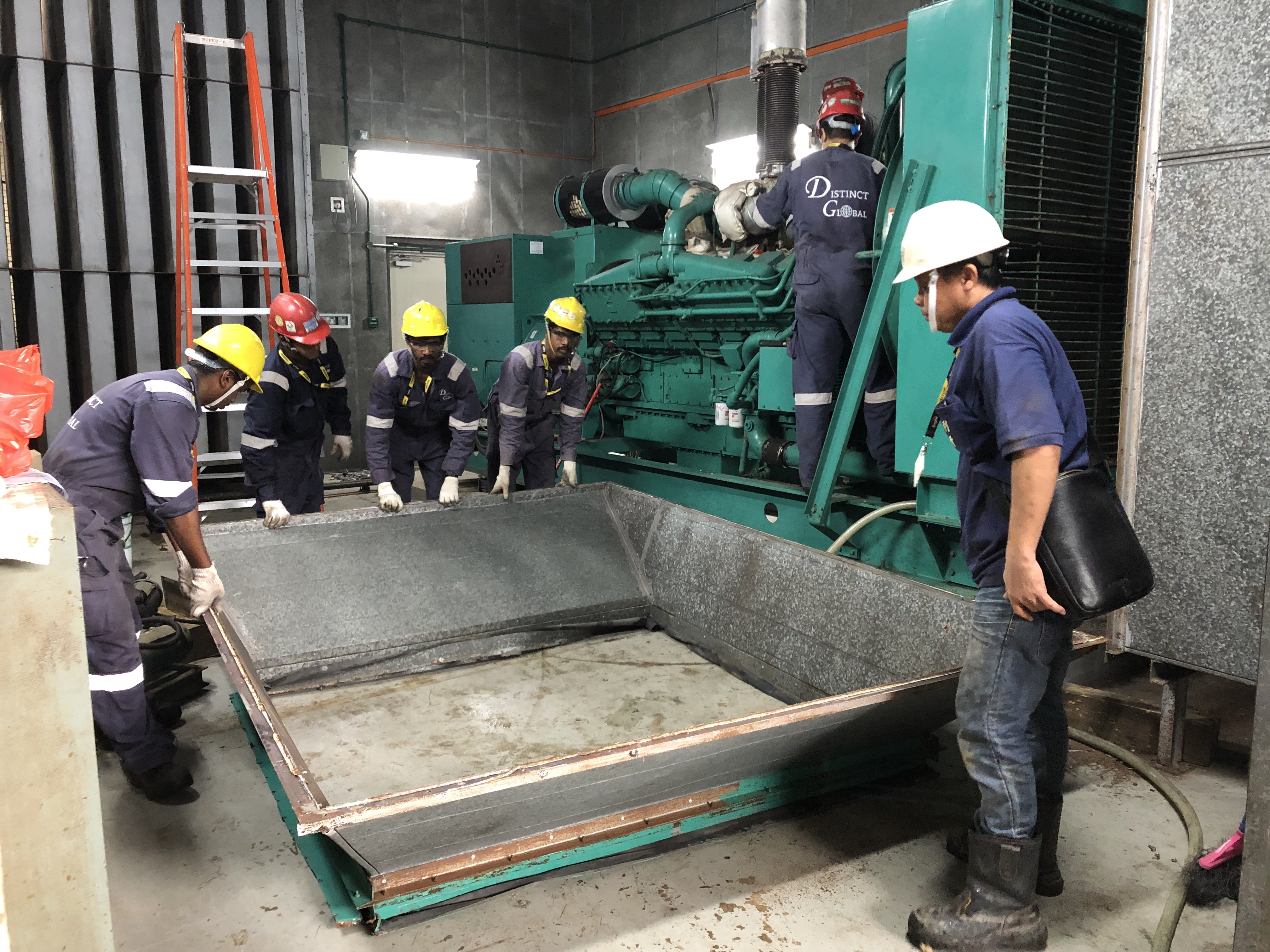 Removal of metal frame between silencer and generator.