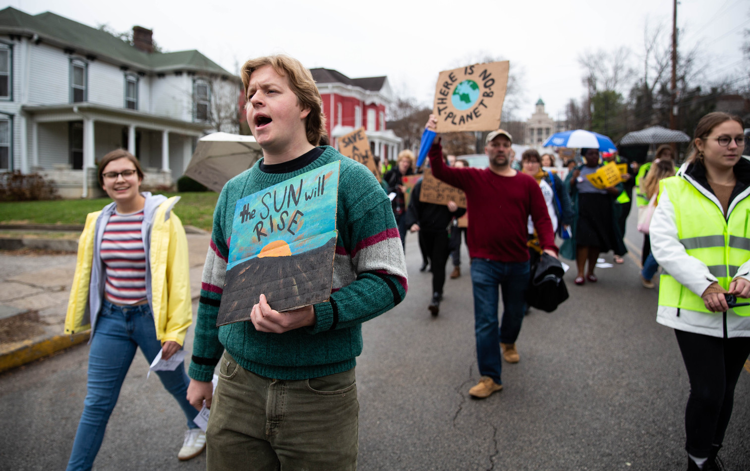 The Sunrise Movement Climate Strike March for clean jobs and a livable future was held on Friday, Dec. 6, 2019, starting at Western Kentucky University's Cherry Hall and ending with a rally at the Warren County Justice Center. ©2019 Grace Ramey
