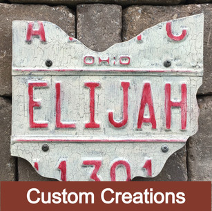 Many of the designs use Ohio and PA themes, however I have an extensive assortment of plates from other states and countries.In addition to using plates from myinventory, I also use customer supplied plates for unique works.