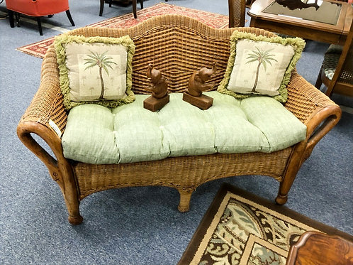 Wicker Settee with Cushion/Throw Pillows