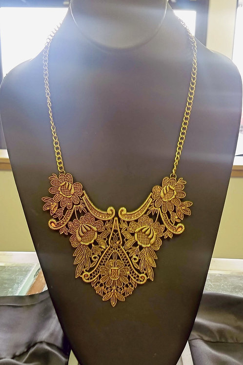 Betsey Johnson Ornate Gold Toned Necklace