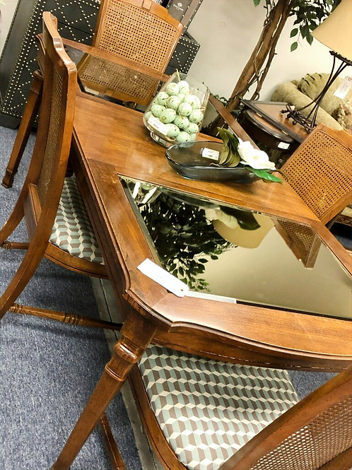 Mirrored Top dining table with 4 Chairs