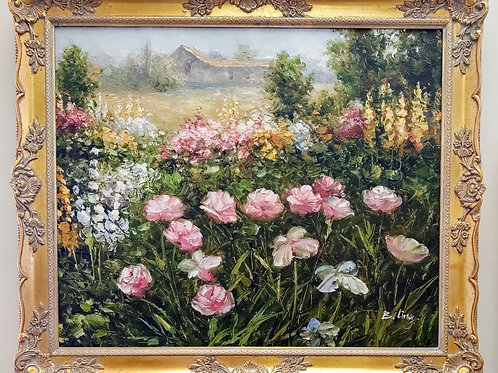 Oil on Canvas Floral Painting w/ Gold Frame