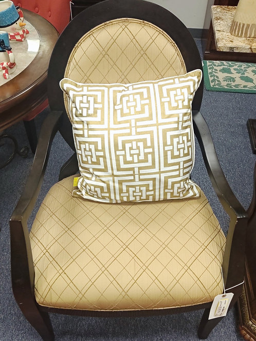 Set of 2 gold upholstered/ black side chairs