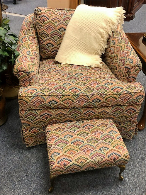 Multi Colored Chair with Small Ottoman