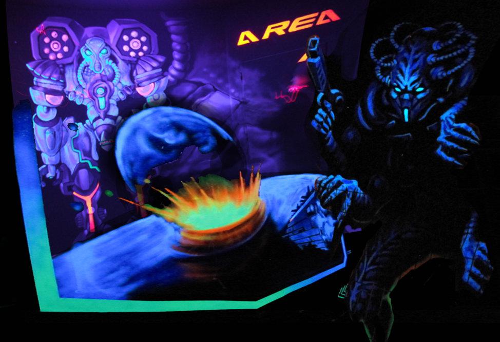 peinture fluo. laser game. deco.