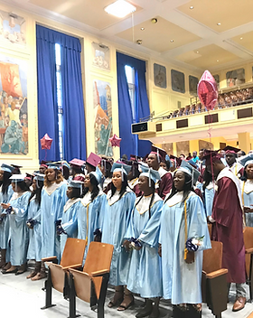 Graduating class of 2019 in the school auditorium on Commencement day.
