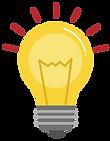 Vector icon of a lit lightbulb