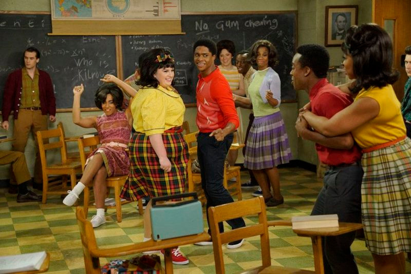 HAIRSPRAY LIVE! -- Pictured: (l-r) Maddie Baillio as Tracy Turnblad, Ephraim Sykes as Seaweed J. Stubbs -- (Photo by: Chris Haston/NBC)