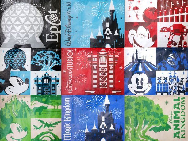 Various styles of reusable bags available at Disney Parks and Resorts