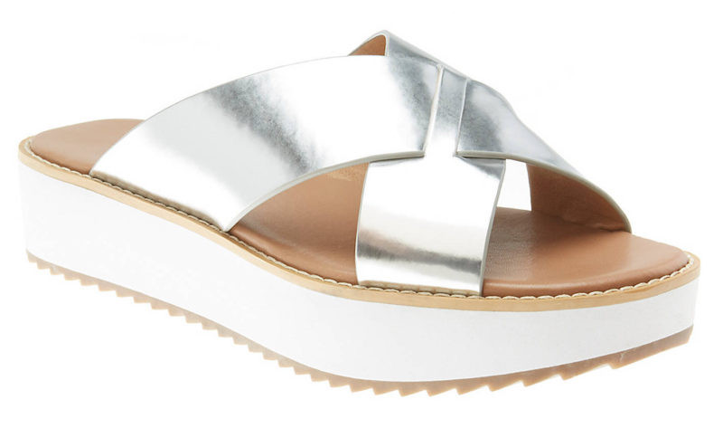 LANE BRYANT CRISS-CROSS PLATFORM SLIDE SANDAL