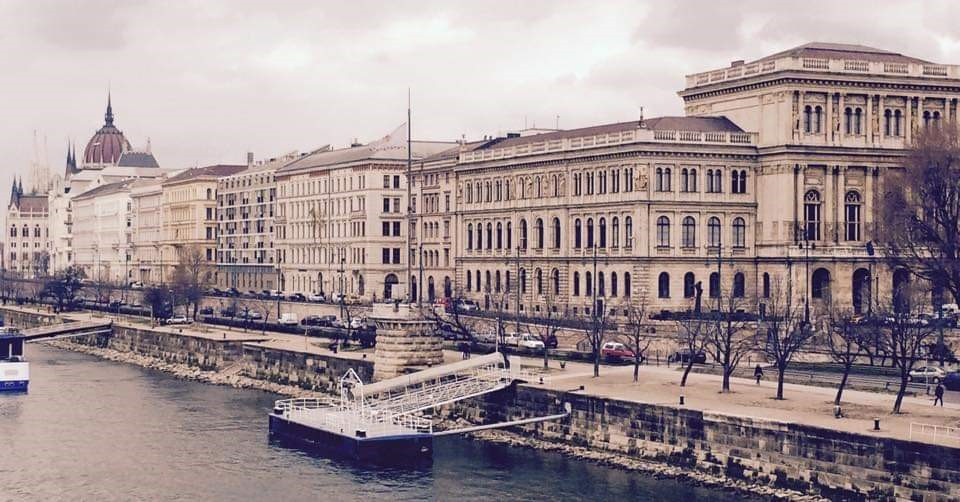 walk along the river Danube near the Hungarian Parliament