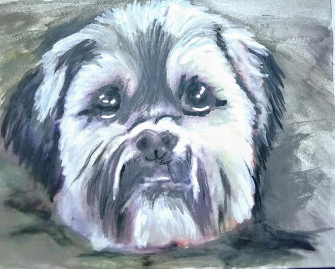 Custom Dog Watercolor Fundraiser