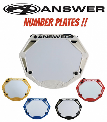 Answer Bmx 3D Number Plate ( Pick Your Size )