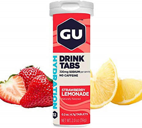 GU Hydration Drink Tabs Strawberry Lemonade Bottle 12