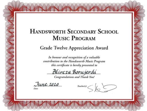 HSS-Music Program Award