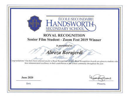 HSS-Royal Recognition-Film Student