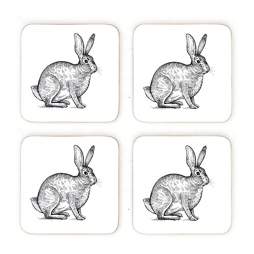 Curious Hare Coasters Set 4