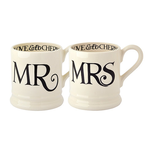 Emma Bridgewater Black Toast Mr & Mrs Set of 2 Half Pint Mugs