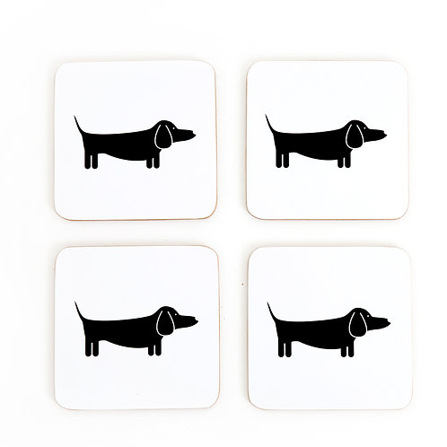 Dapper Dachshund Coasters Set 4