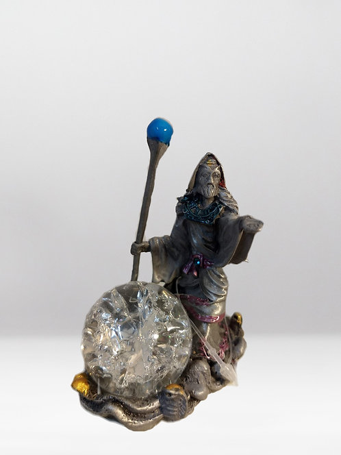 Wizard with Staff/Crystal Ball/ Pewter