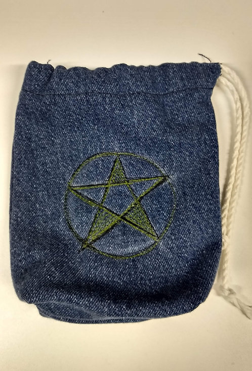 Denim Tarot Card Bags-Drawstring-Pentacle-Green-Black