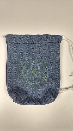 Denim Tarot Card Bags with Drawstring-Trinity Knot-Green-Blue