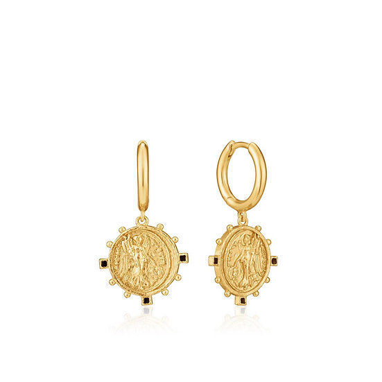 Gold Victory Goddess Coin Mini Hoop Earrings